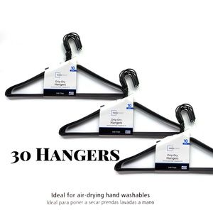 3 (10) Packs of Black Coated Drip-Dry Hangers